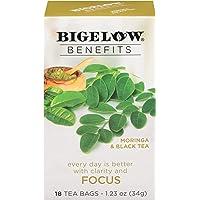 Bigelow Benefits Moringa & Black Tea Bags, 18 Count Box (Pack of 6), Caffeinated Black Tea 108 Tea Bags Total