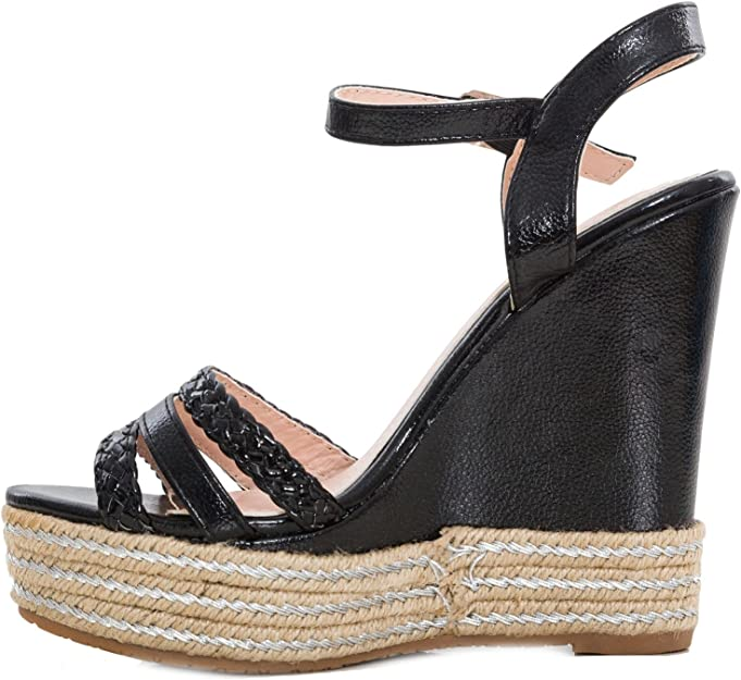 Scarpe donna sandali zeppe ecopelle effetto metallizzato tacchi zatteroni KA-50