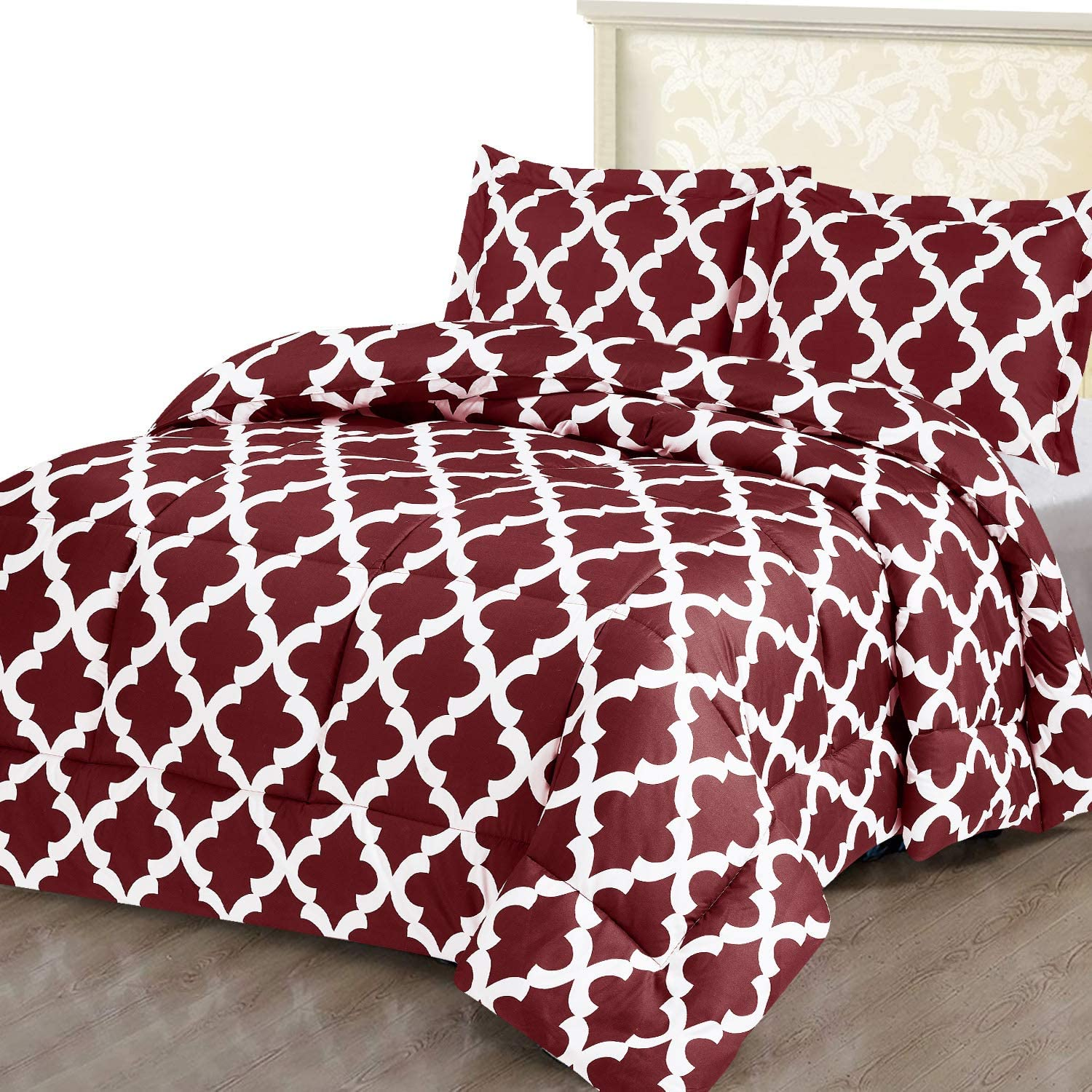 Utopia Bedding Printed Comforter Set (Queen/Full, Red) with 2 Pillow Shams - Luxurious Brushed Microfiber - Down Alternative Comforter - Soft and Comfortable - Machine Washable