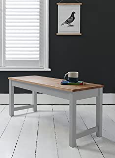 Annika Dining Bench In Silk Grey And Natural Pine