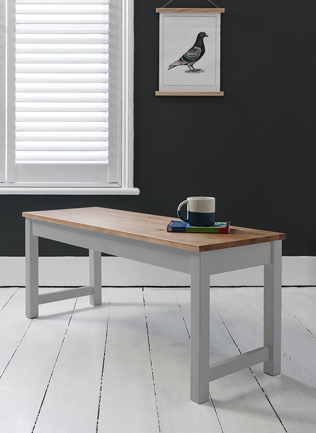 Annika Dining Table And Benches In Silk Grey Natural Pine Amazoncouk Kitchen Home