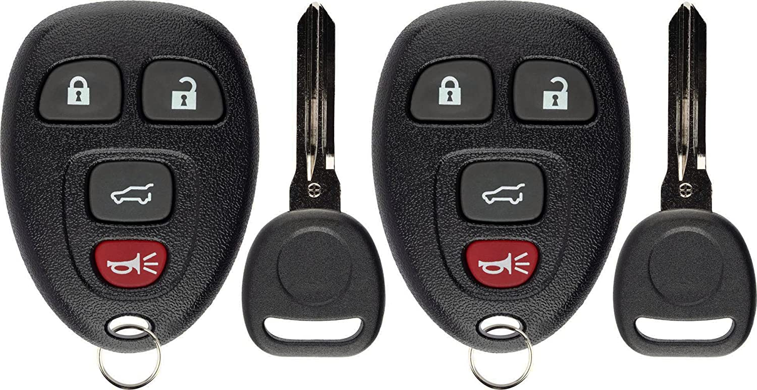 KeylessOption Keyless Entry Remote Control Car Key Fob Replacement for 15913416 with Key Pack of 2