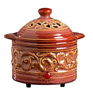 "Hosley's Red Electric Potpourri Warmer, 5.75"" Diameter. Ideal Gift for Wedding, Special Occasions, Spa, Aromatherapy, Reiki, Meditation Settings and Home Office. O3"