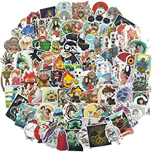 Miyazaki Hayao Anime Laptop Stickers 100pcs Pack Teen/Kids Vinyl Skateboard Water Bottle Computer Travel Case Guitar Snowboard Luggage Car Bike Phone Graffiti Decal