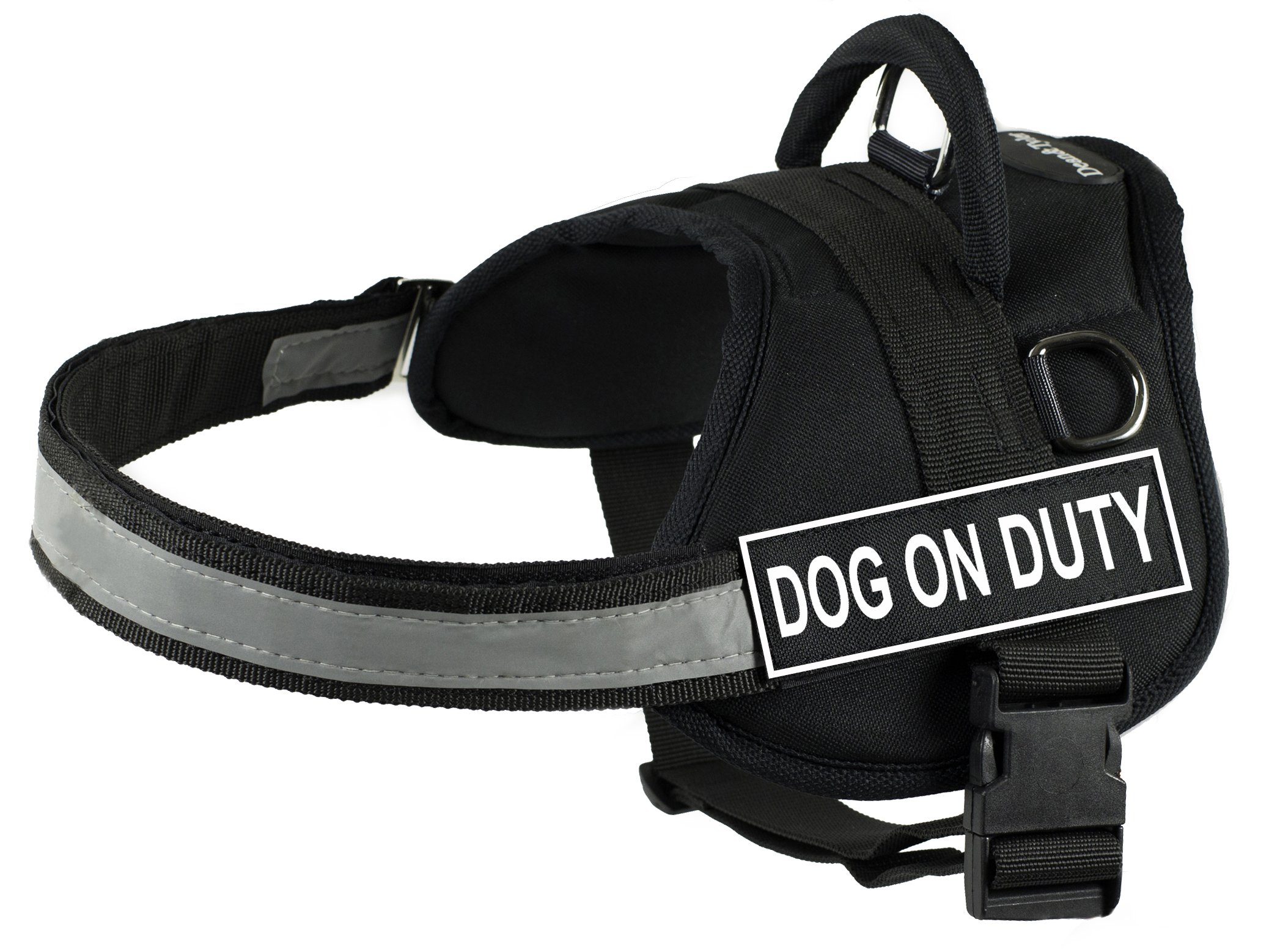 DT Works Harness, Dog On Duty, Black/White, Small - Fits Girth Size: 25-Inch to 34-Inch
