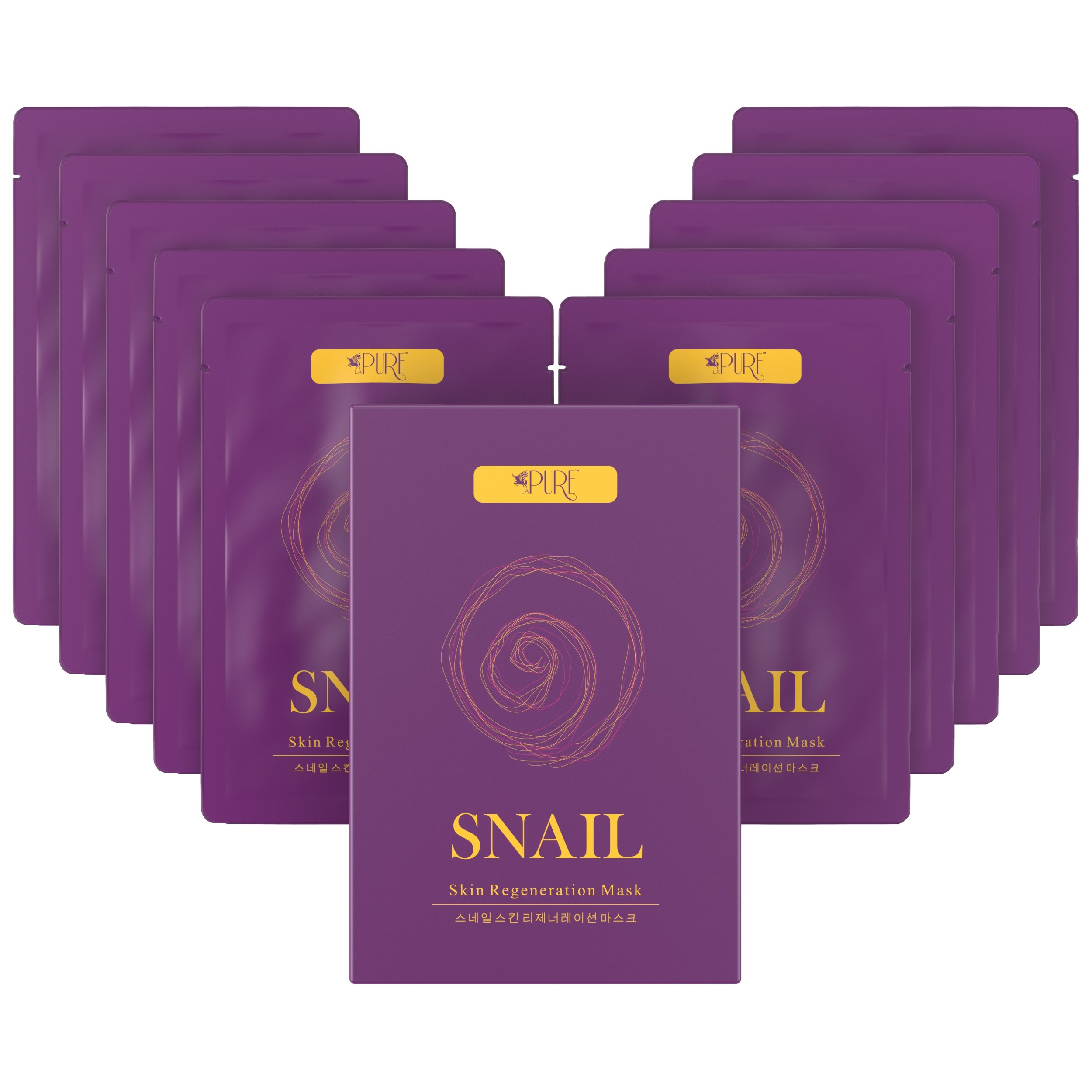 LA PURE Snail Regeneration Korean Facial Mask (pack of 10) 100% Pure Cotton Cupra Sheet Mask, Anti-Aging, Anti-Wrinkle, Hydration Mask, Snail Secretion Filtrate 7000ppm For Deep Moisturizing