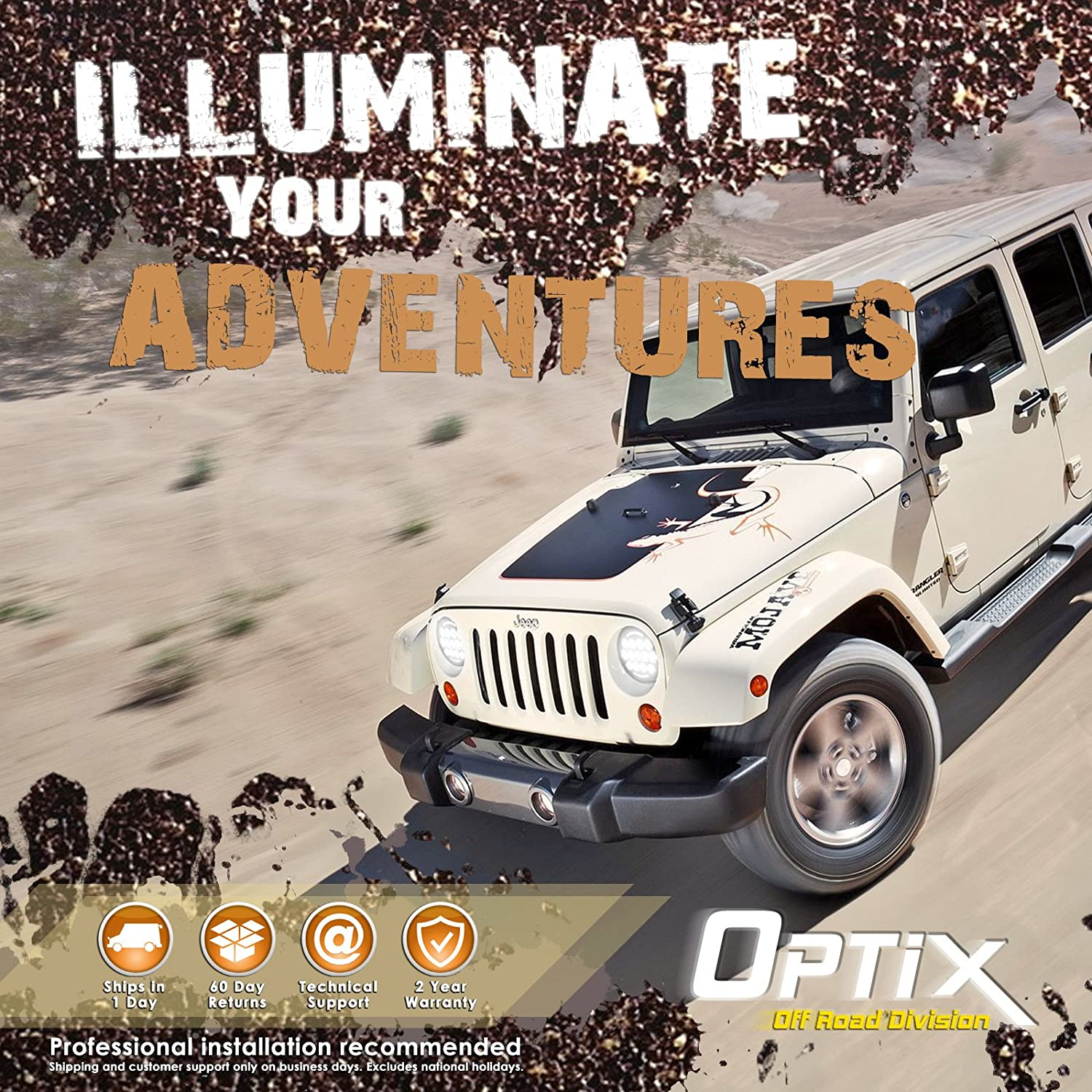 Optix Complete Drl Wiring Adapter Harness Kit For 7 2002 Jeep Wrangler Mini Fuse Box Diagram Round Led Headlight With Daytime Running Lights 1997 2016 Tj Lj Jk Made