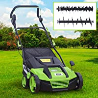 BRAST Elektro Vertikutierer Rasenlüfter 1600 Watt 38cm Arbeitsbreite 48L Fangkorb 2in1 Kombi Gerät Lüfter Moosentferner