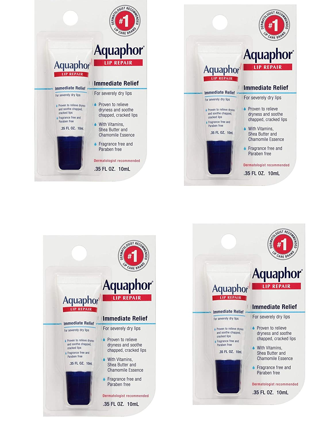 Aquaphor Lip Repair Ointment - Long-lasting Moisture to Soothe Dry Chapped Lips - .35 fl. oz Tube, 4 Pack