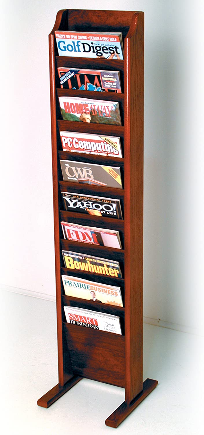 Wooden Mallet Cascade Free Standing 10 Pocket Magazine Rack Light Oak MR10-FSLO