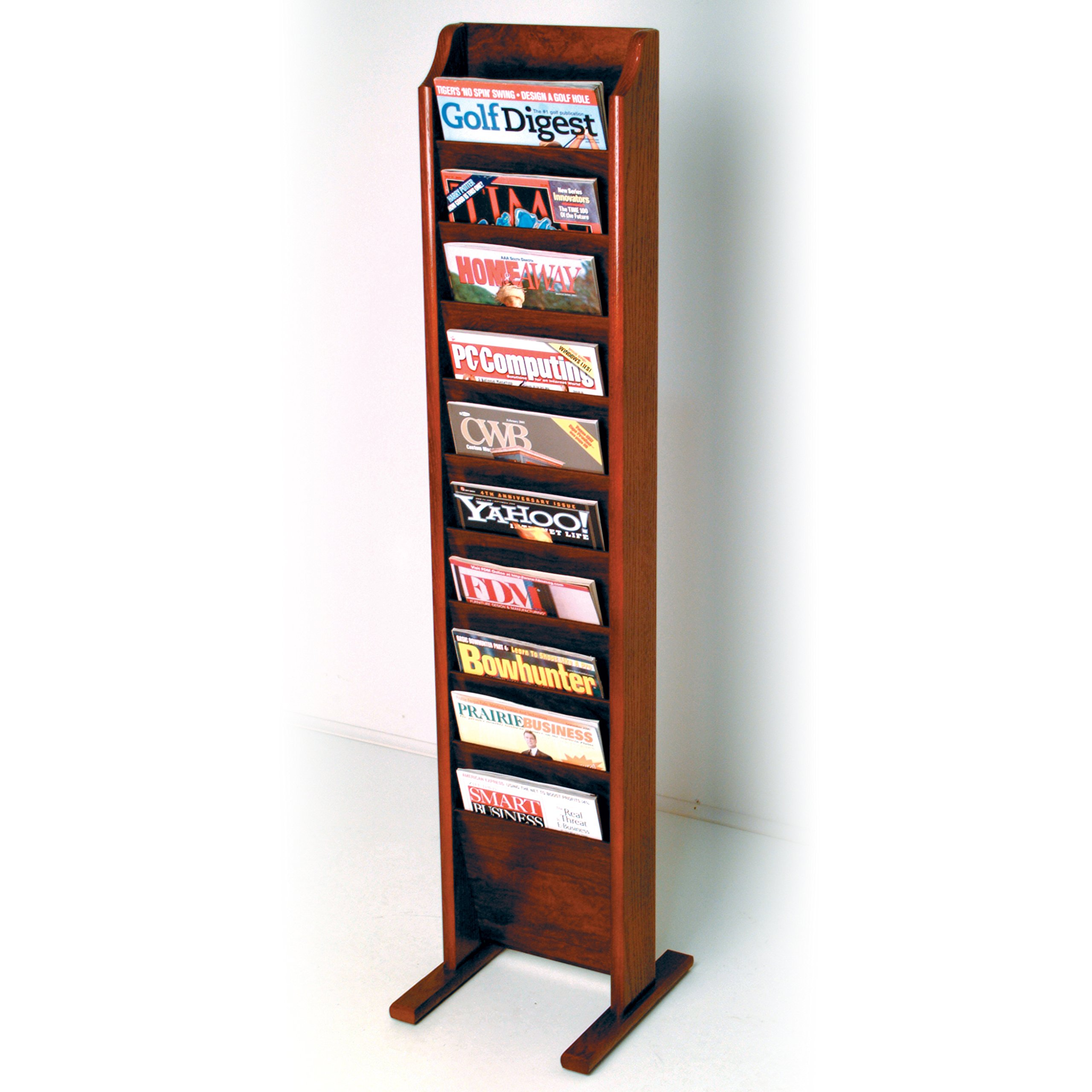 Wooden Mallet 10-Pocket Cascade Free-Standing Magazine Rack, Mahogany by Wooden Mallet