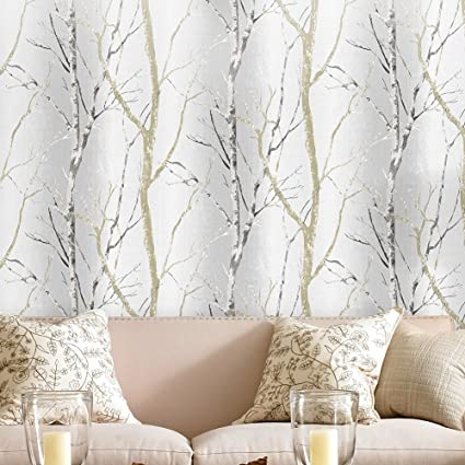 Haokhome 21304 Modern Birch Tree Wallpaper Wood Grey Black Tan For
