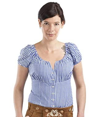 342050c00748fd Trachtenbluse Amanda - Elegante Bluse - Trachten Carmenbluse kariert (32,  Blau/Weiss)