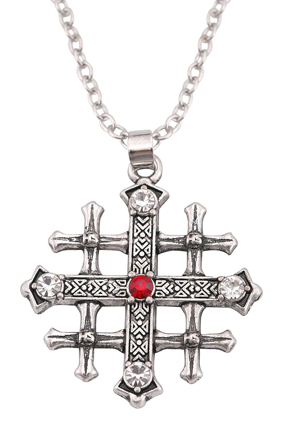 Lemegeton Jerusalem Cross Medieval Cross Pendant Necklace Red Crystal Christian Retro Jewelry BiChuang