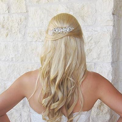 Swarovski Crystal Marquise Rhinestones and Swarovski Pearls Wedding Barrette
