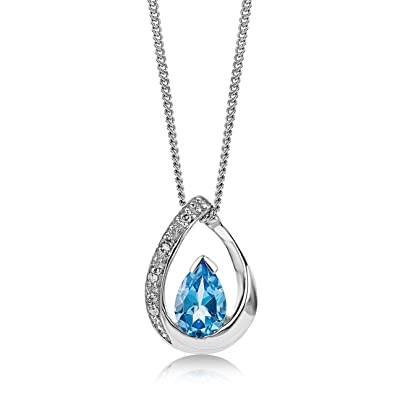 Miore Necklace - Pendant Women Chain Blue Topaz Yellow Gold 9 Kt/375 Chain 45 cm K7is0n