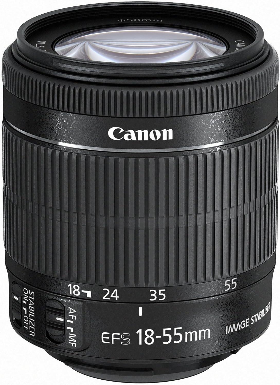schwarz Canon Zoomobjektiv EF-S 18-55mm F3.5-5,6 IS STM f/ür EOS 58mm Filtergewinde, Bildstabilisator, Autofokus