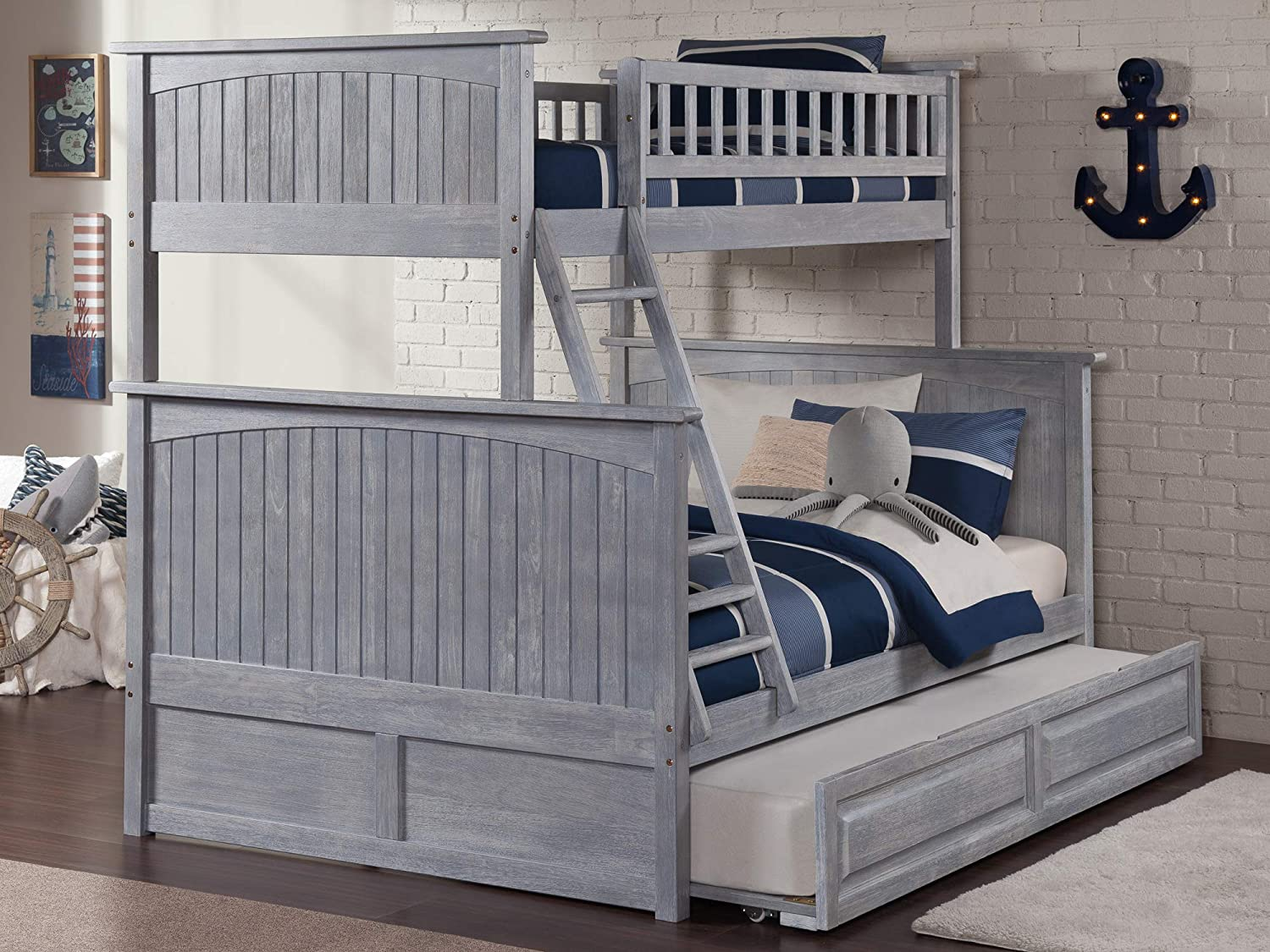 Atlantic Furniture AB59238 Nantucket Bunk Bed with Twin Size Raised Panel Trundle, Twin Full, Driftwood
