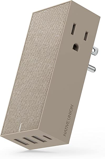 Native Union Smart HUB - 4-Port USB Wall Charger (Including One USB-C Port) with 2 x AC Outlets - Quick Charging for iPhone, iPad, Smartphones and ...