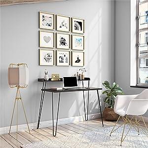 Ameriwood Home Haven Retro Computer Desk with Riser, Black Oak