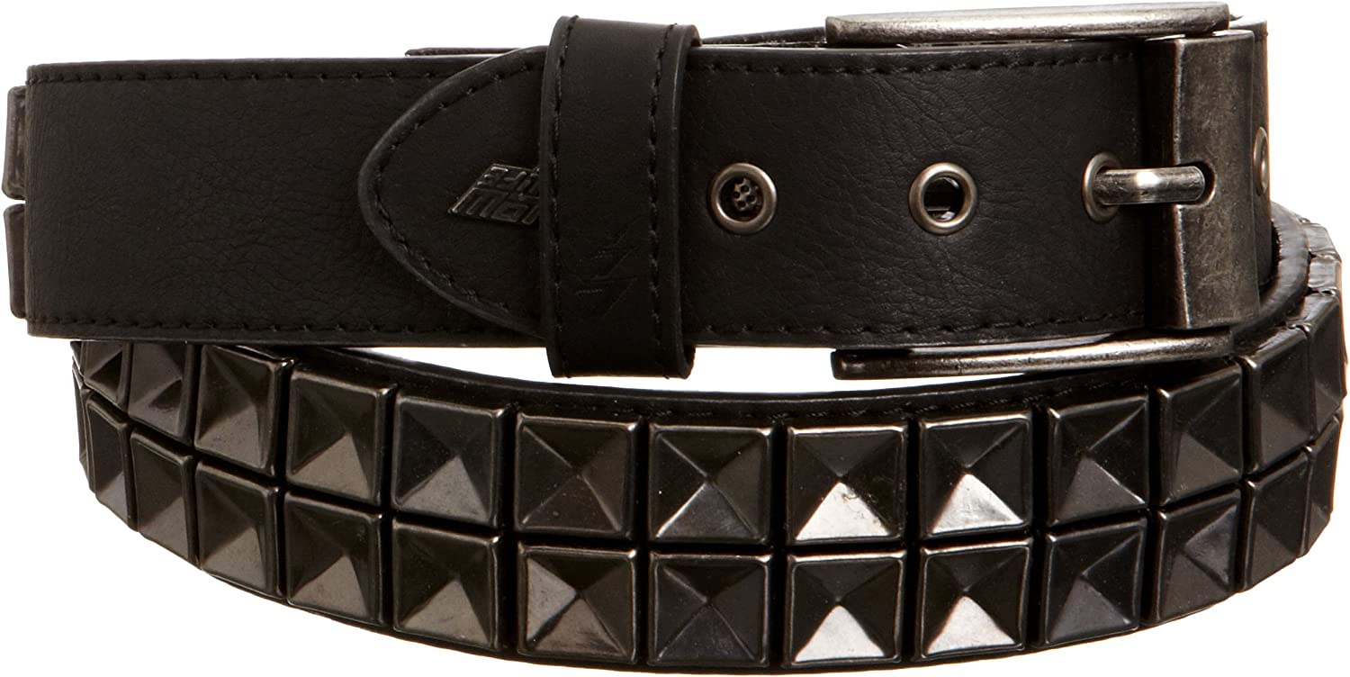 Lowlife Concave Leather Belt Black Pewter