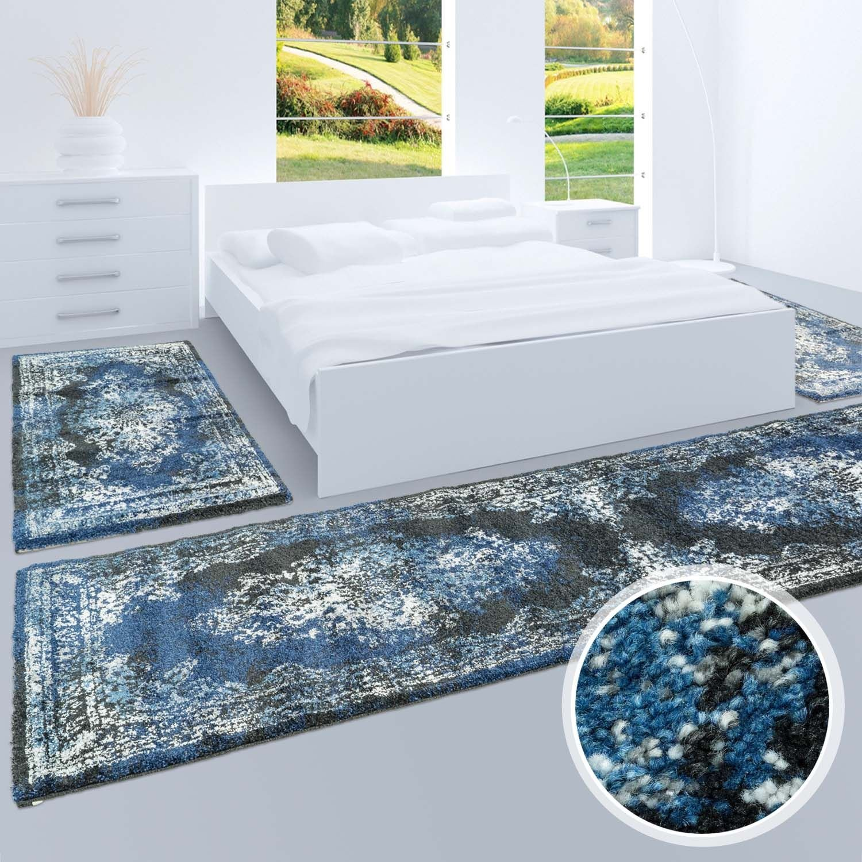 Bettumrandung, Teppich-Läufer Flachflor mit Klassischen Design, Ornamenten-Muster in Schwarz Blau für Schlafzimmer, 3-teilig, Läufer-Größen  2x 80x150 cm, 1x 80x300 cm