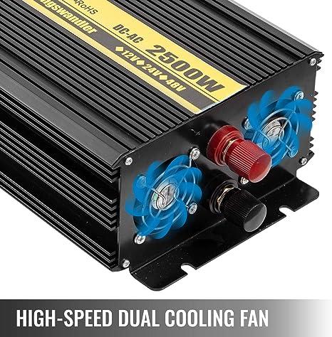 Inversor de Corriente Frecuencia Salida 50Hz Mando a Distancia y Cable Convertidor Onda Modificada para Coche de Pico 3000W VEVOR Convertidor de Corriente ZPX1500W Inversor Onda Pura DC 12V AC 230V
