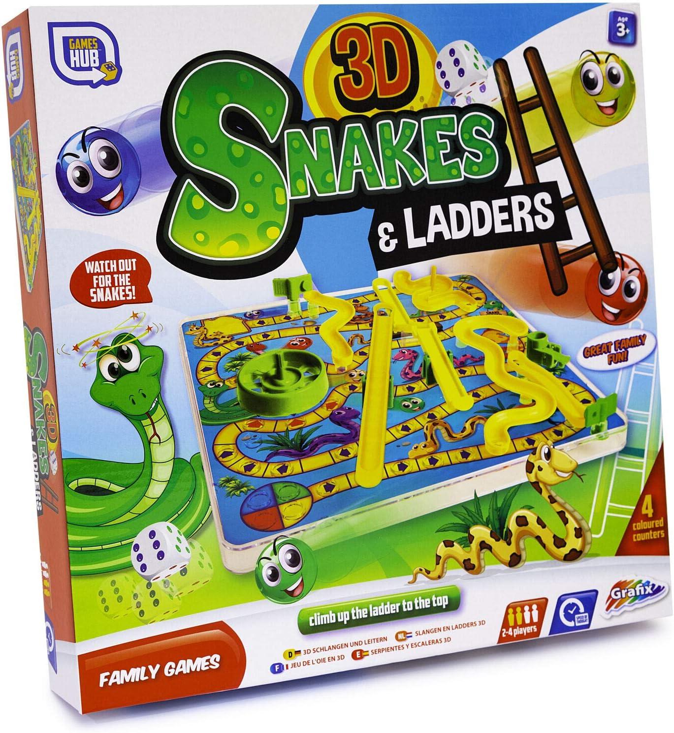 DIYANG Serpientes y escaleras 3D Niños Juego de Mesa para niños Juguete Familiar Tradicional Regalo Divertido