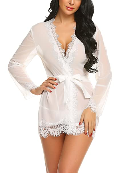 4c0e493533 ADOME Women Sexy Lingerie Eyelash Lace Trim Kimono Robe Babydoll Mesh Nightgown  White US M