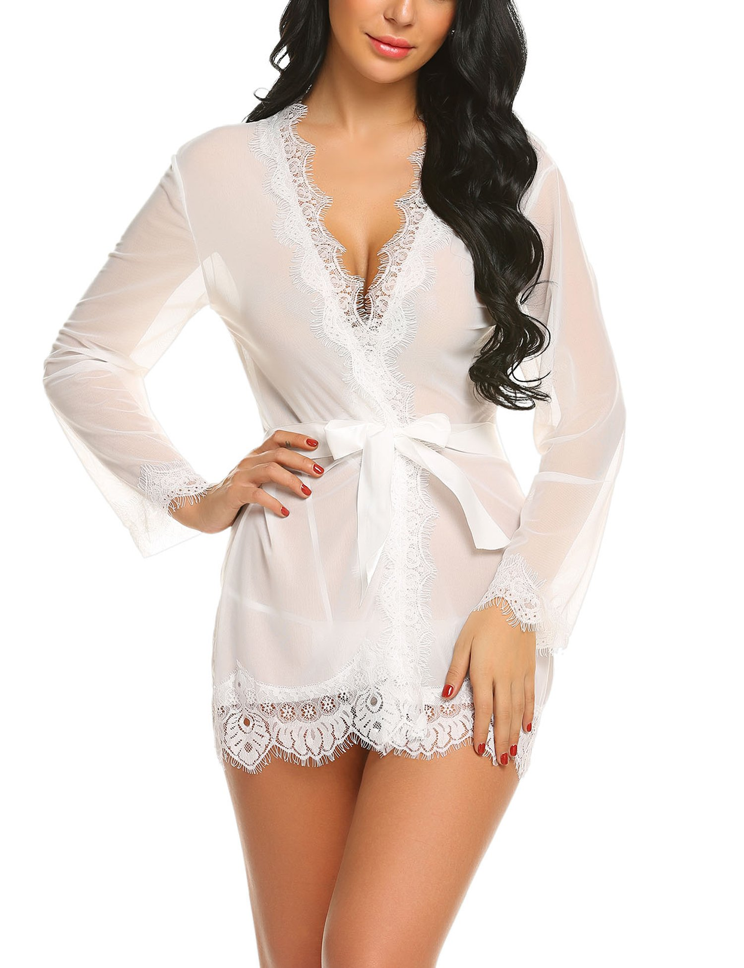 bd38c060a5 See all customer reviews · ADOME Women Lingerie Lace Kimono Robe Babydoll  Sheer Lace Up Nightgown with Belted product image