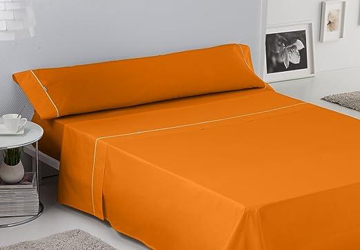 ES-TELA - Juego de sábanas LISOS BIÉS color Naranja (3 piezas ...