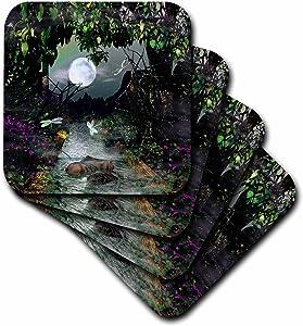 3dRose CST_60821_3 Creek, Moon Nature Scene Ceramic Tile Coasters, Set of 4