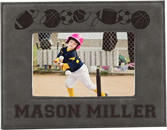 Sports Picture Frames For Kids Boy Or Girl Photo Football Hockey Baseball Soccer Frames Custom Personalized And Engraved For Free 5 X 7 Amazon Co Uk Kitchen Home