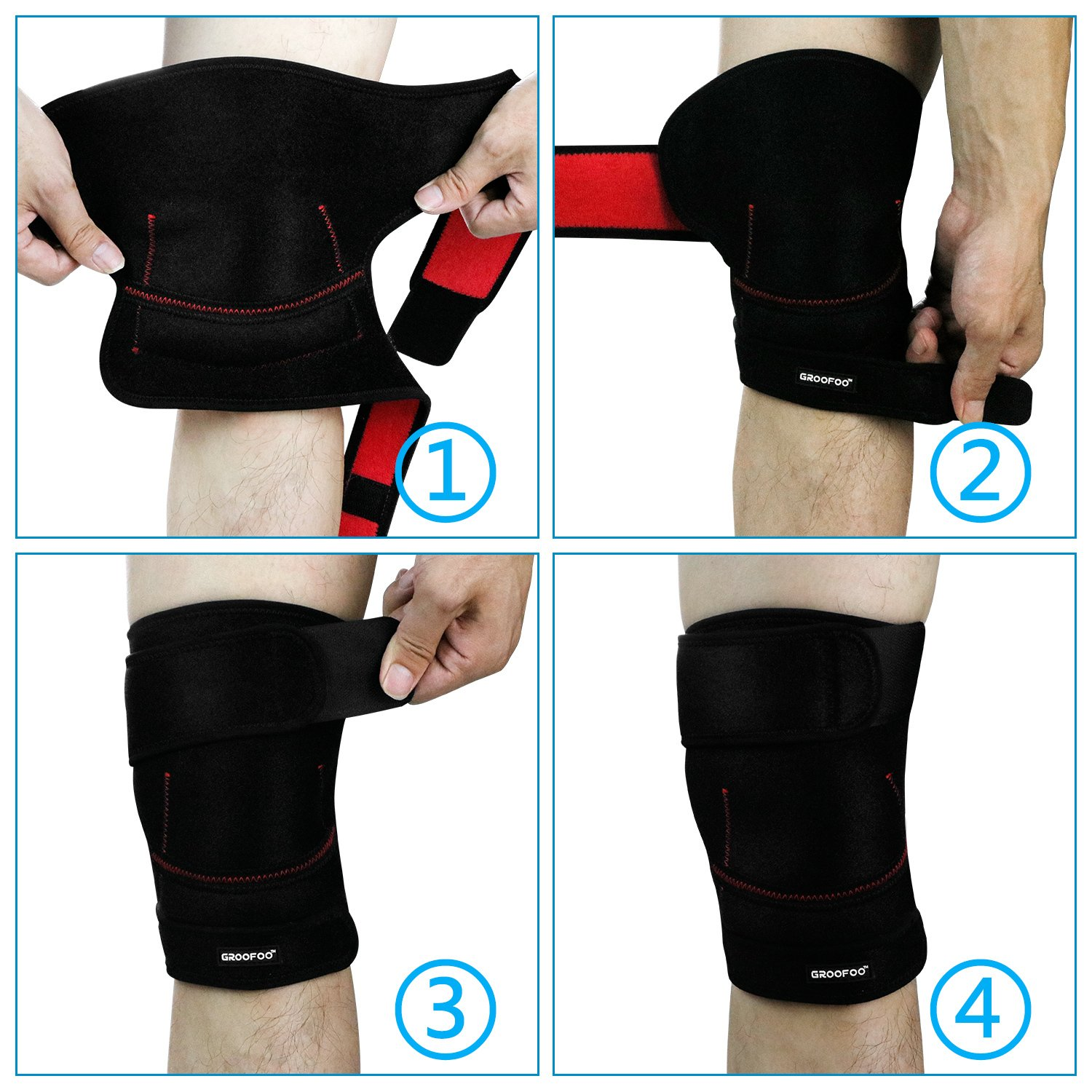 Knee Brace, GROOFOO Patella Knee Brace for Arthritis [Adjustable Knee Brace][Knee Brace Sleeve][Knee Brace Acl Skiing]Ergonomic Arc Design with Lint-free Materials - injured, arthritic knees recovery