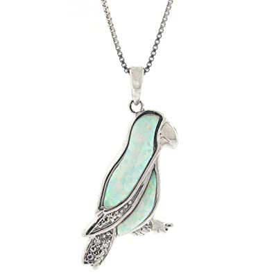 b46d444d5 Image Unavailable. Image not available for. Color: .004 cttw Diamond and Created  Opal Parrot Pendant in Sterling Silver ...