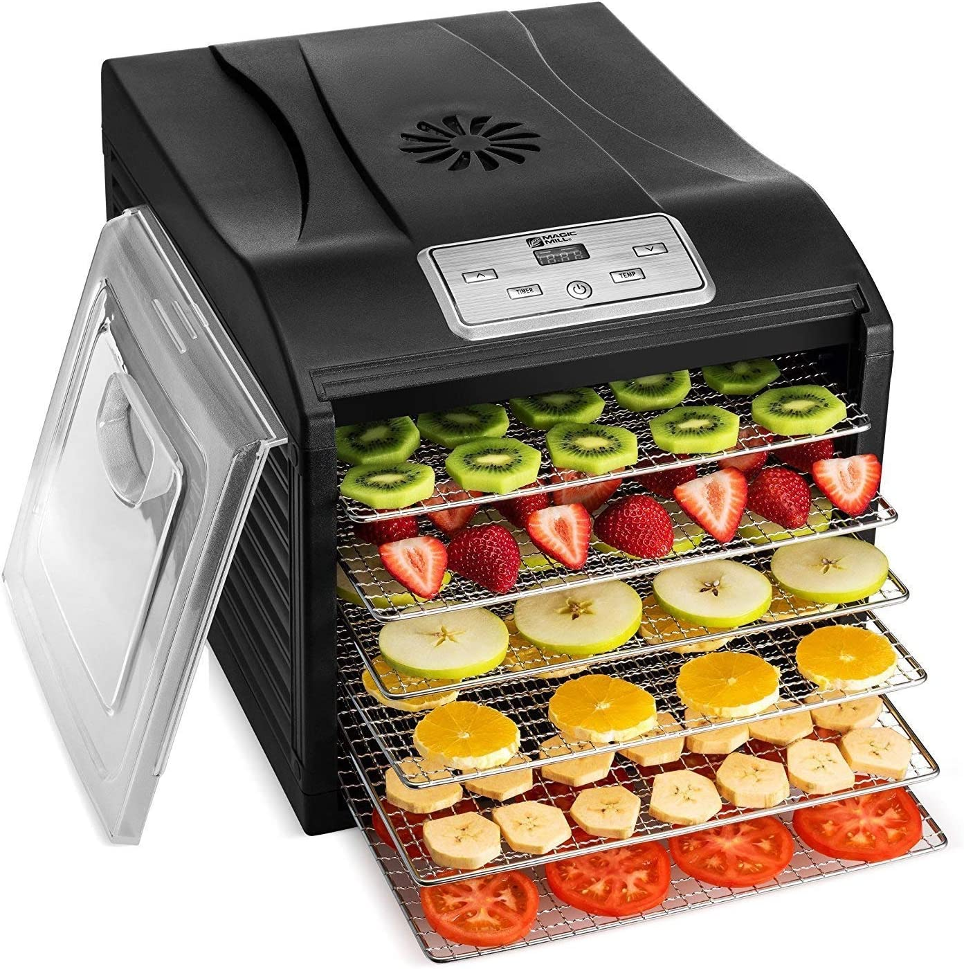 Magic Mill MFD-6100 Magic Mill Professional Dehydrator Machine, 6 Stainless Steel Drying Racks, Multi-Tier Food Preserver, Digital Control Bundle Bonus 2 Fruit Leath, Black (Renewed)