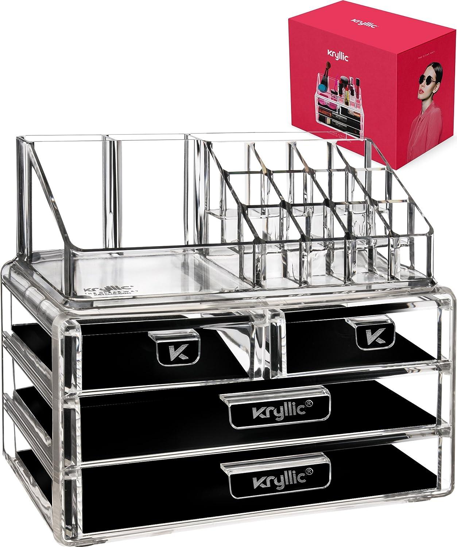 6f6294eaebd7 Acrylic Vanity Makeup Cosmetic Organizer -16 slot 4 box drawer storage  organizers for make up brushes lipstick lipgloss brush palette! Countertop  ...
