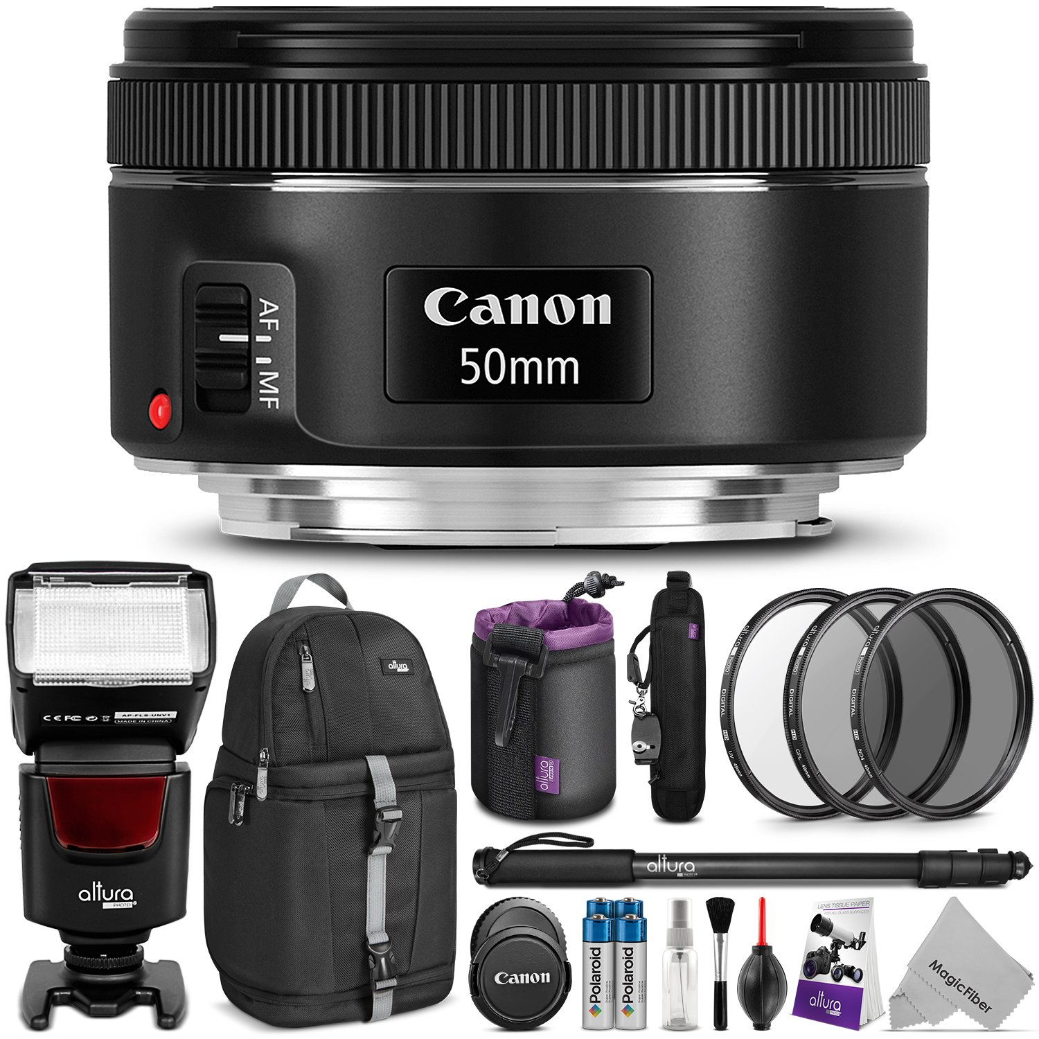 Canon EF 50mm f/1.8 STM Lens w/ Complete Photo and Travel Bundle – Includes: Altura Photo Flash, Sling Backpack, Monopod, UV-CPL-ND4, Rapid Fire Neck Strap, Lens Pouch, Cleaning Set
