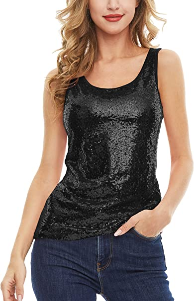 MS STYLE Womens Sleeveless Sparkle Shimmer Camisole Vest Sequin Tank Tops