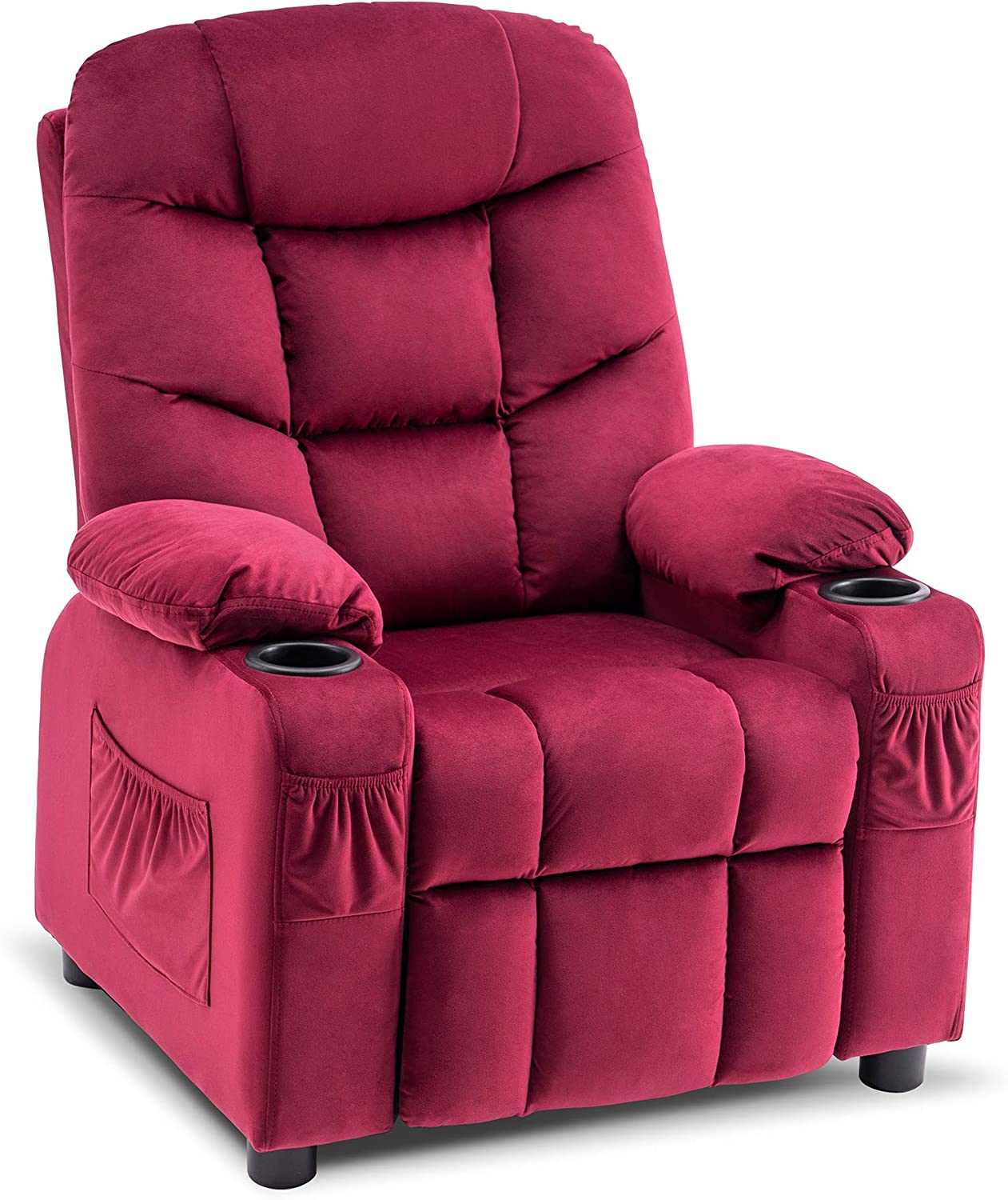 Mcombo Big Kids Recliner Chair with Cup Holders for Boys and Girls Room, 2 Side Pockets, 3+ Age Group, Velvet Fabric 7355 (Burgundy)