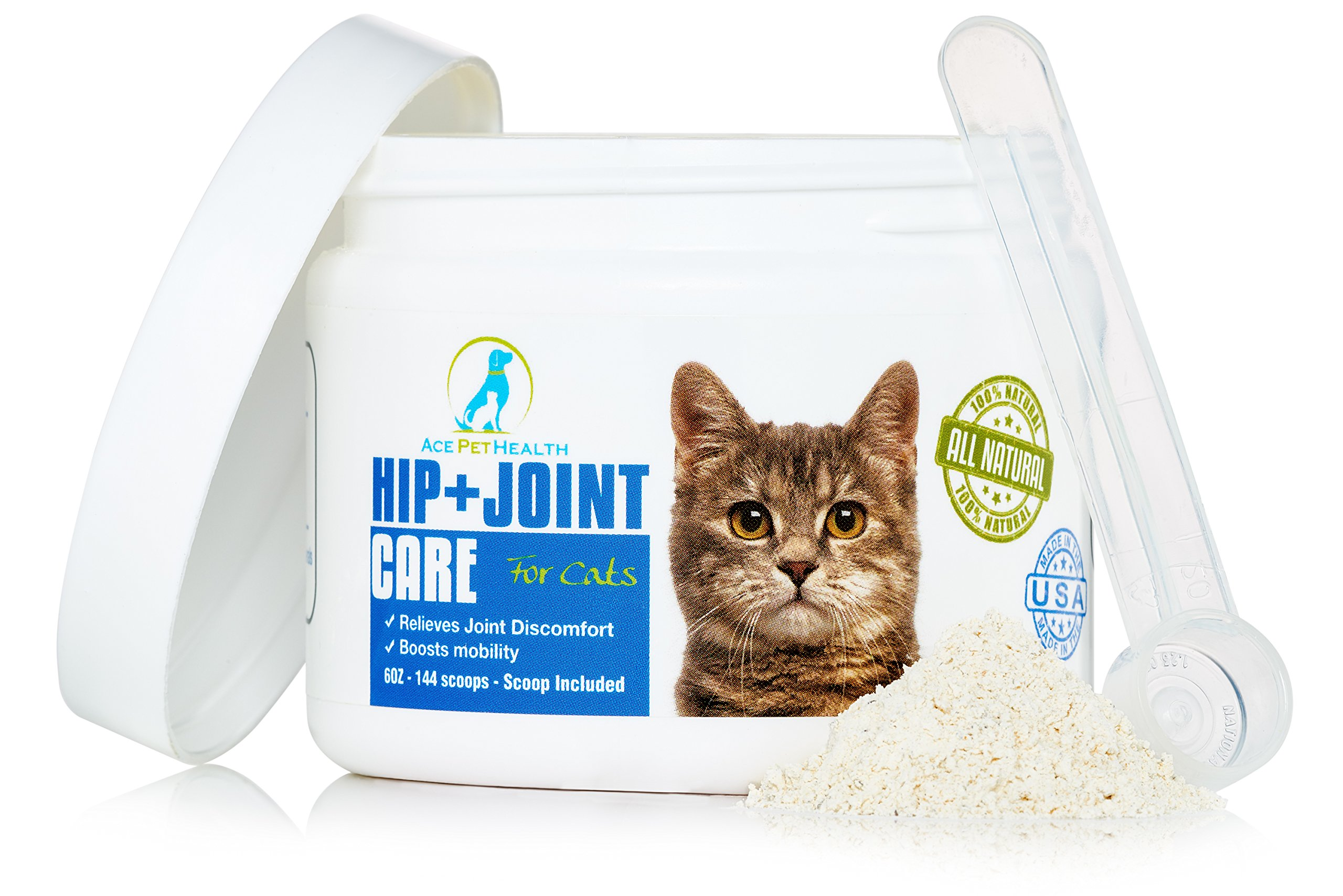 Ace Pet Health Joint Support Powder 6oz - Glucosamine Chondroitin for Cats with MSM - Arthritis Pain Relief for Cats with Kona Berry and Turmeric - Anti inflammatory for Cats