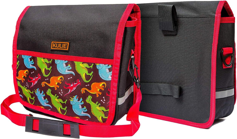 Kulie Bike Handlebar Bag for Kids, Multifunctional Bike Basket for Girls and Boys, Waterproof Bag with a Sturdy Strap, Dinosaur : Sports & Outdoors