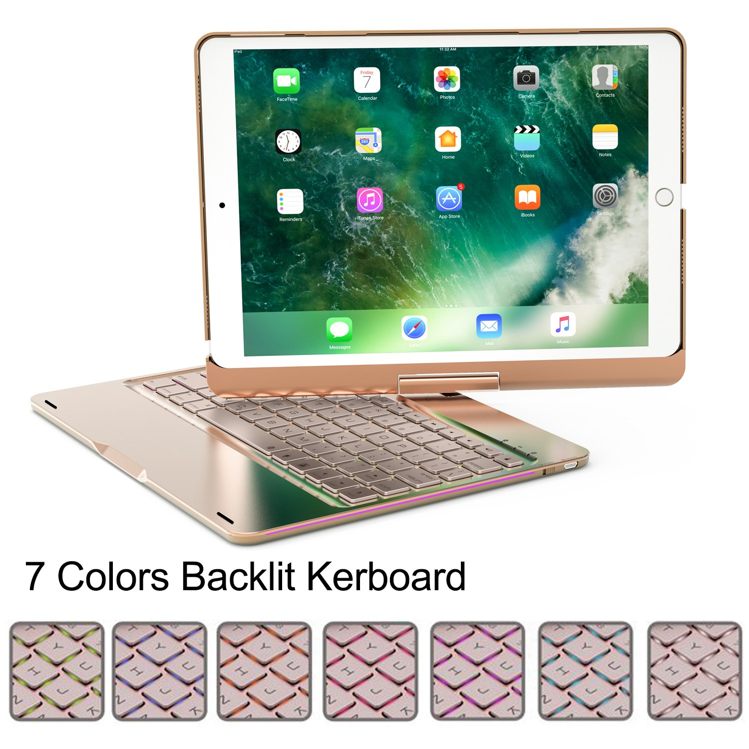 BECROWMUS Wireless Keyboard for Ipad pro,Aluminum Alloy Ultra-Thin Apple 10.5'' iPad Bluetooth Keyboard Folio Case Cover with 7 Colors Backlit and 360° Horizontal Rotation,Gold