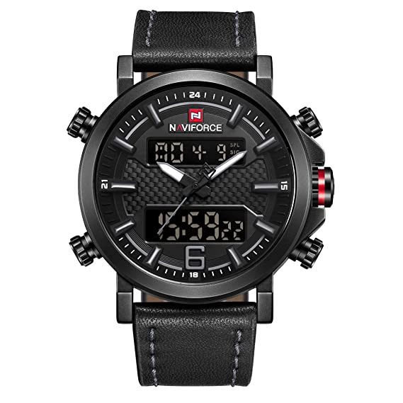 Naviforce - Reloj de Pulsera para Hombre, analógico, Digital, de Cuarzo, Correa de Piel, con Doble Zona horaria, multifunción, Color Gris: Amazon.es: ...