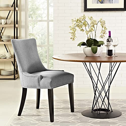 Modway Marquis Modern Elegant Upholstered Fabric Parsons With Nailhead Trim And Wood Legs, Dining Side Chair, Light Gray