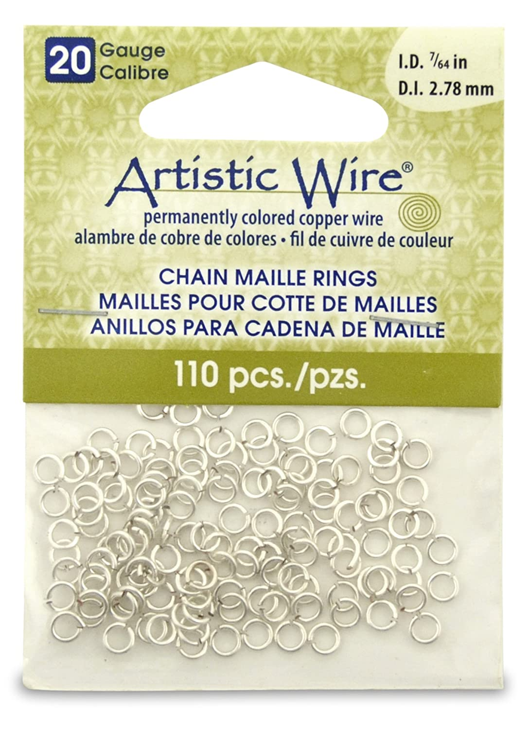 Artistic Wire Beadalon 7/64-inch 110 Piece 20-Gauge Non-Tarnish Chain Maille Rings, Silver A314-20S-10-03