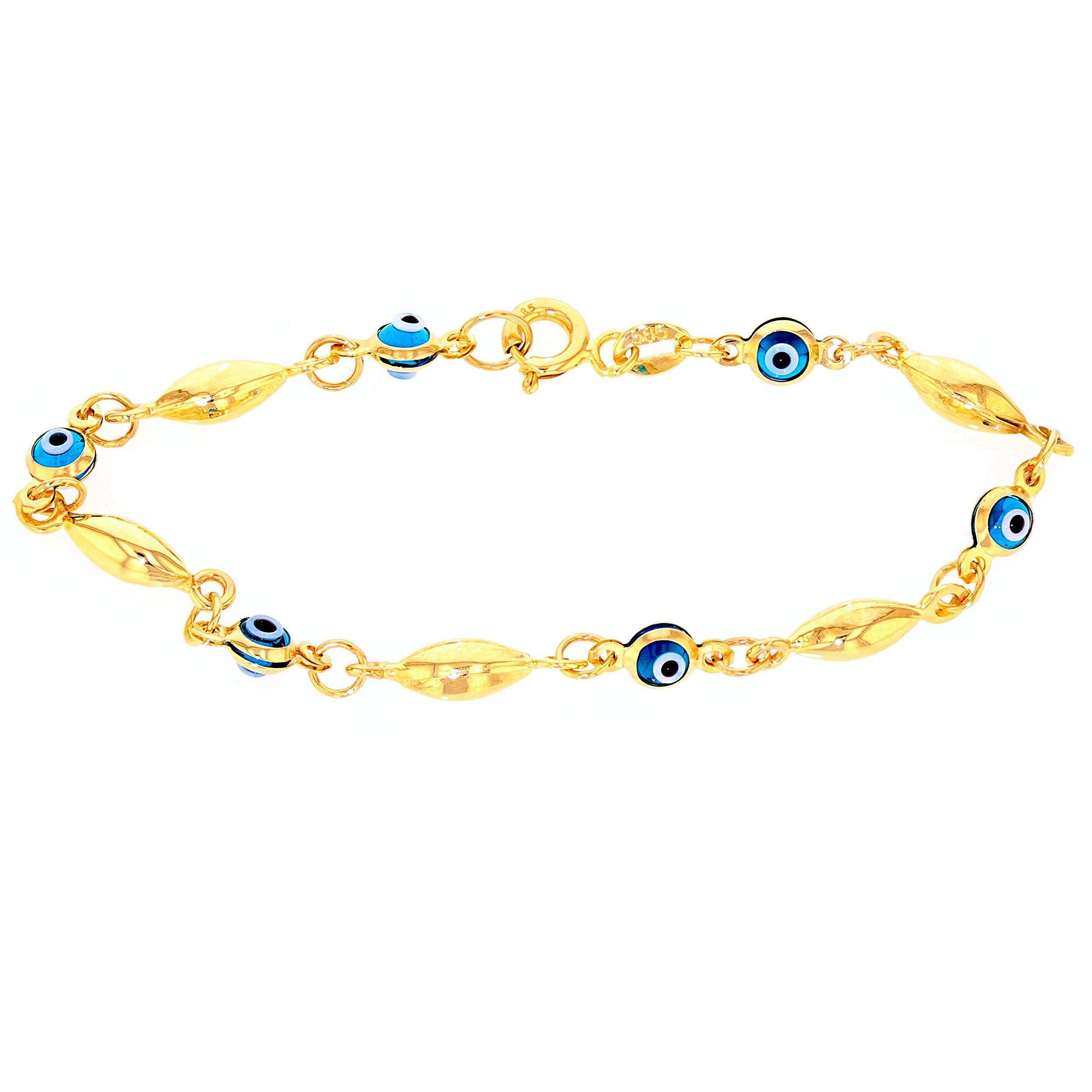 Solid 14k Yellow Gold Blue Evil Eye Baby Bracelet 5.5'' by Evil Eye by Jewelry America