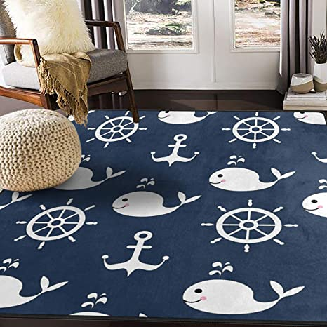 Alaza Retro Cartoon Whale Anchor Area Rug Rugs For Living Room Bedroom 7 X 5 Kitchen Dining