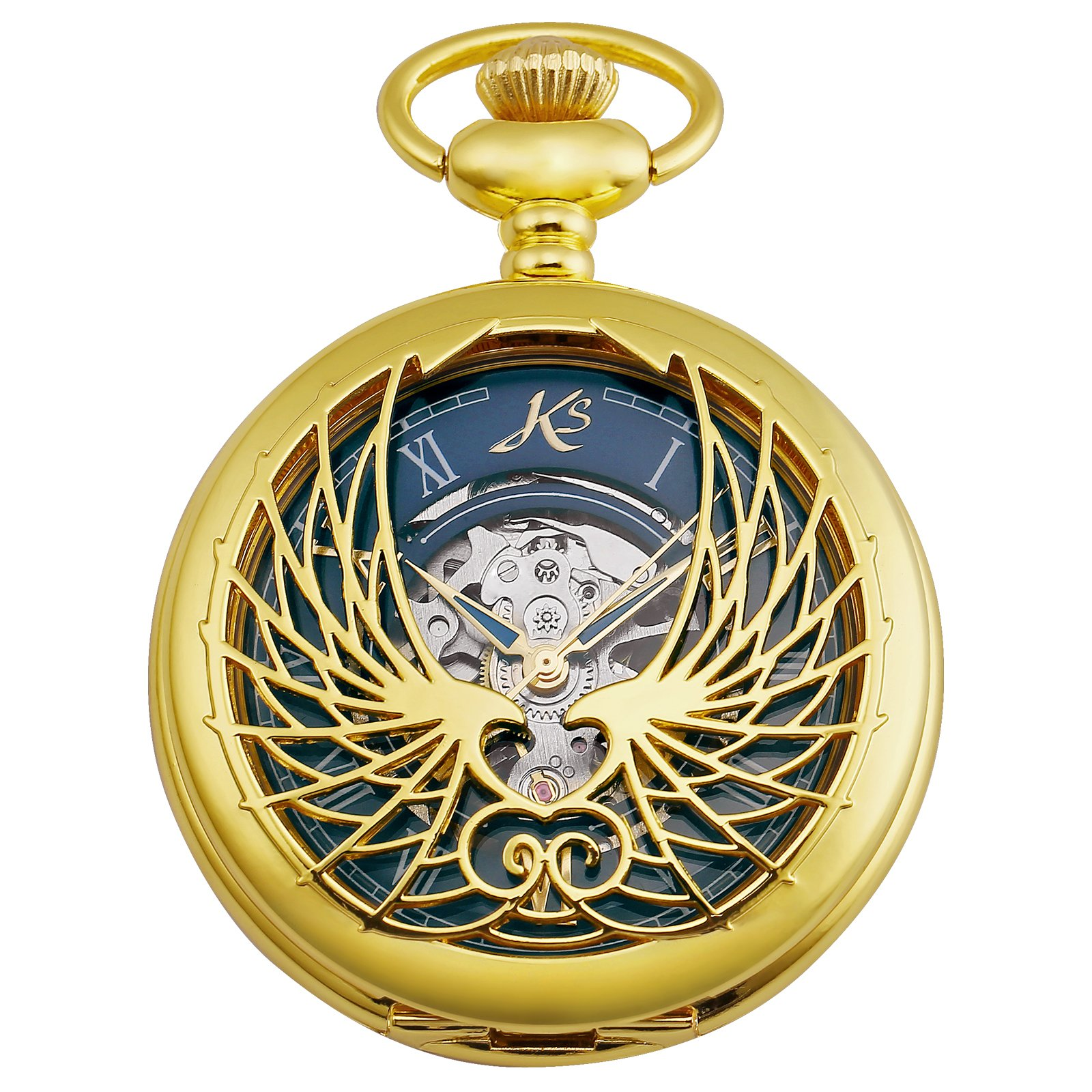 KS Skeleton Eagle Wings Design Case Roman Numeral Markers Mechanical Pocket Watch KSP121