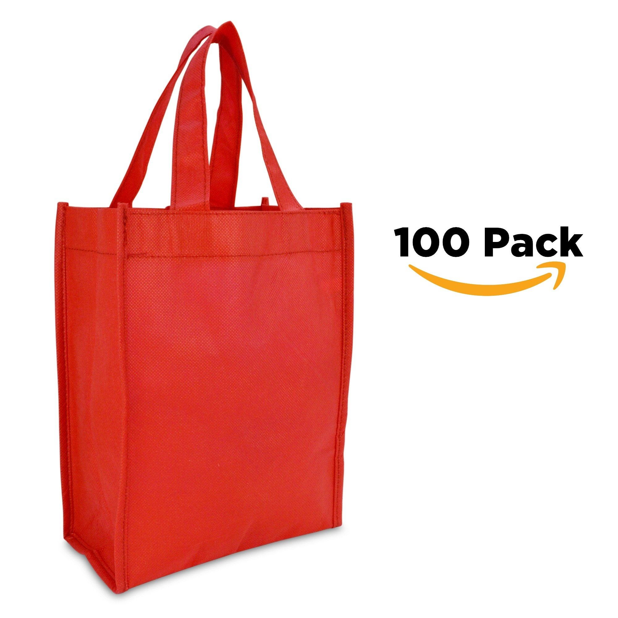 DALIX 10'' Mini Shopping Totes Small Resuseable Bags for Women and Children in Red-100 PACK